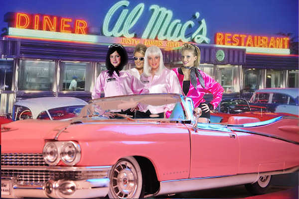 Pink ladies in a Cadillac